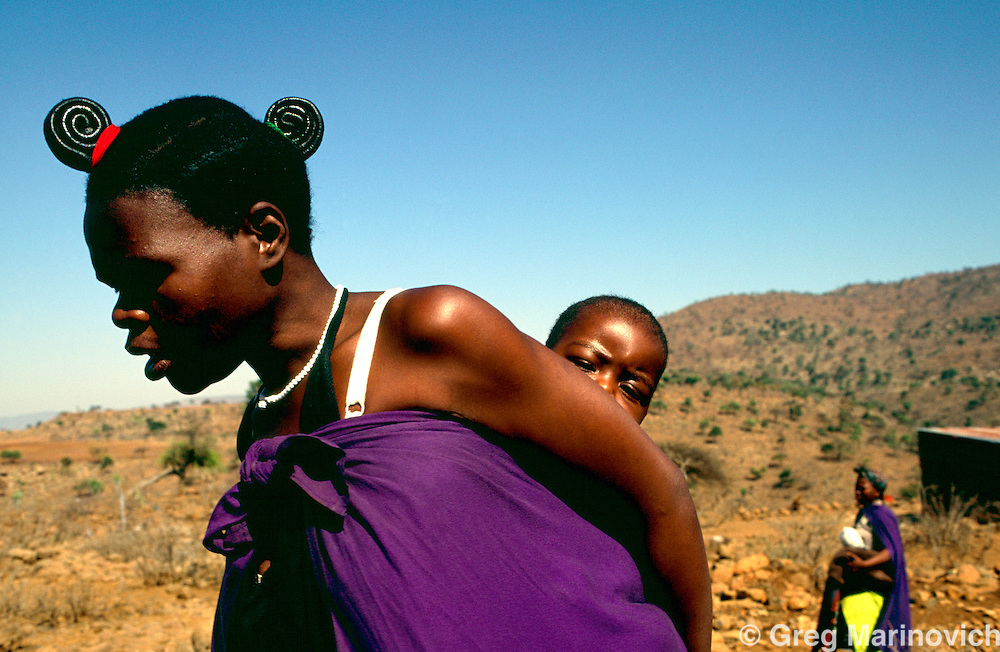 Msinga KwaZulu Natal 14 September 1995. Women in traditional attire in the stark hills of the Msinga area of KwaZulu Natal, South Africa.