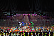 16.08.2014. Nanjing, China. Performers from Songshan Shaolin Tagou Martial Arts School at Dengfeng, Henan Province perform aerial stunts during the Nanjing 2014 Youth Olympic Games opening ceremony in Nanjing, capital of east Chinas Jiangsu Province. <br /> <br /> <br /> <br /> 16 08 2014 Nanjing Olympic Stadium Youth Olympic Games 2014 Opening ceremony Grand Opening Feature Opening ceremony Grand Opening