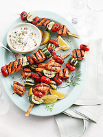 Salmon, Cucumber, and Tomato Kebabs with Pickled Okra Yogurt