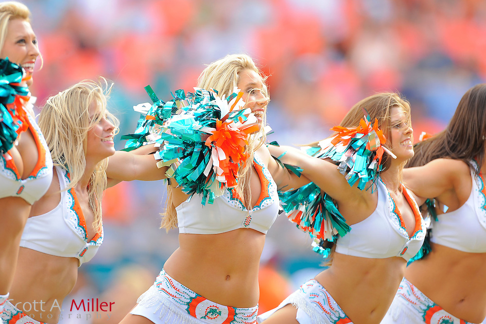 Denver Broncos beat the Miami Dolphins cheerleaders during the Dolphins 18-15 OT loss to the Denver Broncos at Sunlife Stadium on Oct. 22, 2011 in Miami Gardens, Fla. ..(Special to FOXSPORTS.COM/Scott A. Miller)