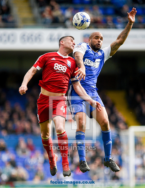 David McGoldrick of Ipswich Town and Paul Robinson of Birmingham City battle for the ball during the Sky Bet Championship match at Portman Road, Ipswich<br /> Picture by Hannah Fountain/Focus Images Ltd 07814482222<br /> 01/04/2017