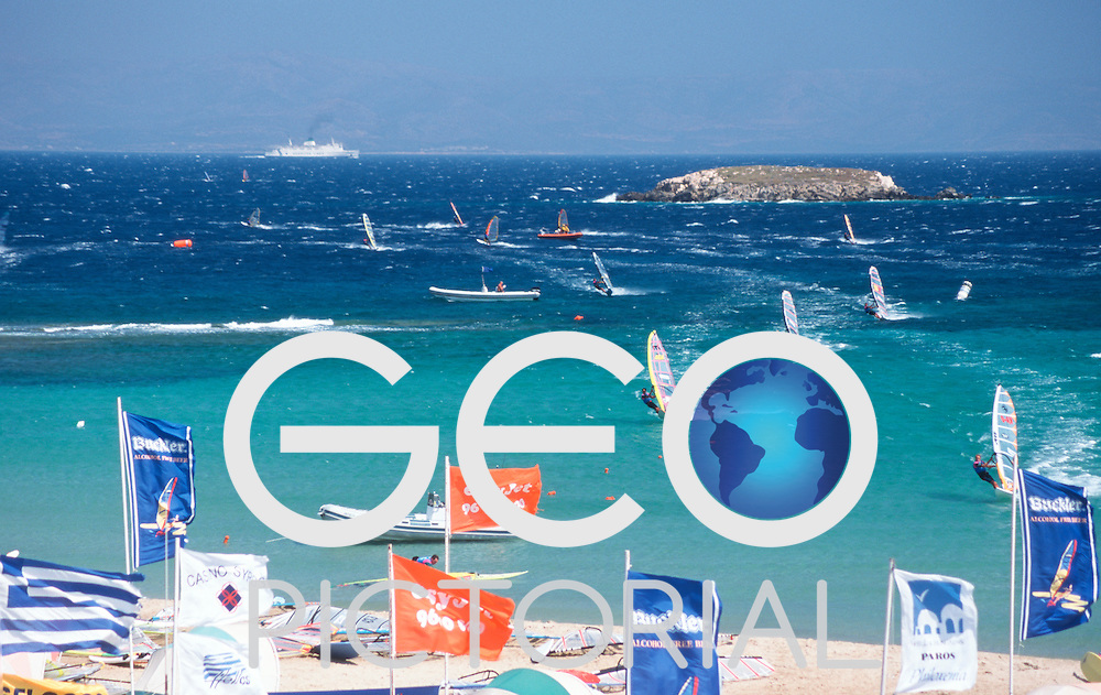 PWA Tour Course race off Golden Beach in the straights between Paros and Naxos Islands;.Paros, Cyclades Islands, Greece.