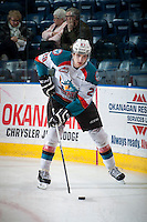 KELOWNA, CANADA - MARCH 7: Leon Draisaitl #29 of Kelowna Rockets warms up against the Spokane Chiefs on March 7, 2015 at Prospera Place in Kelowna, British Columbia, Canada.  (Photo by Marissa Baecker/Shoot the Breeze)  *** Local Caption *** Leon Draisaitl;