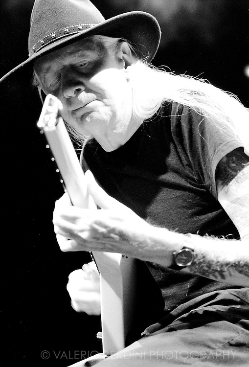Texan Bluesman Johnny Winter live at the Astoria in London on 1 May 2008 photographed on 35mm b&w film