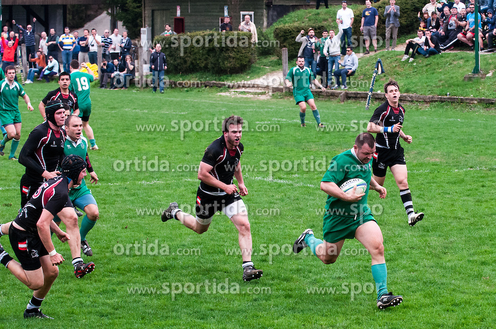 Rugby match between National team of Slovenia (green) and Austria (black) at EUROPEAN NATIONS CUP 2012-2014 of C group 2nd division, on April 20, 2013, in Stanezice, Ljubljana, Slovenia. Slovenia won 13:11.