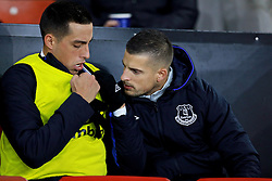 SOUTHAMPTON, ENGLAND - Saturday, November 19, 2016: Everton's substitutes Ramiro Funes Mori and Kevin Mirallas on the bench before the FA Premier League match against Southampton at St. Mary's Stadium. (Pic by David Rawcliffe/Propaganda)