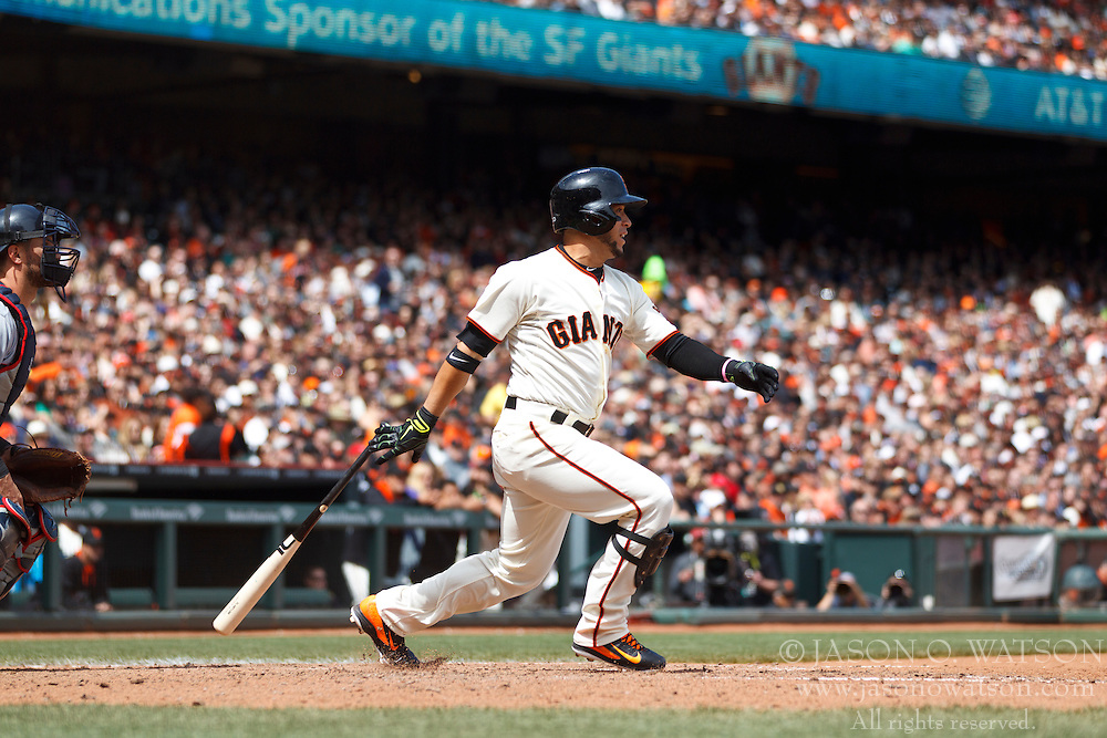 SAN FRANCISCO, CA - APRIL 26:  Gregor Blanco #7 of the San Francisco Giants at bat against the Cleveland Indians during the fifth inning at AT&T Park on April 26, 2014 in San Francisco, California. The San Francisco Giants defeated the Cleveland Indians 5-3.  (Photo by Jason O. Watson/Getty Images) *** Local Caption *** Gregor Blanco