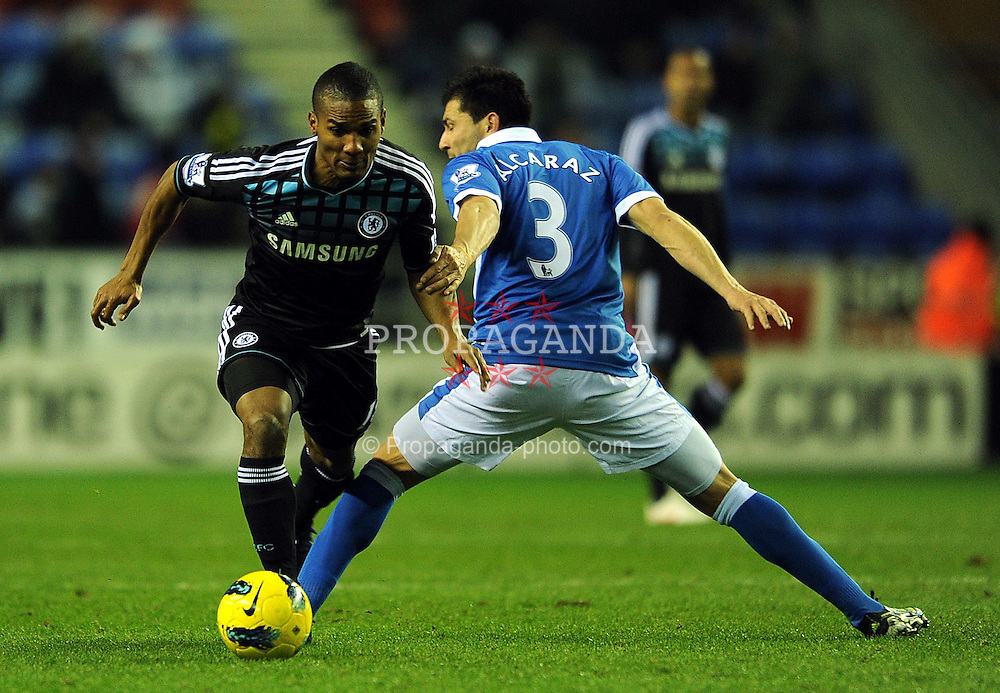 17.12.2011, Stamford Bridge Stadion, London, ENG, PL, FC Chelsea vs Wigan Athletic, 16. Spieltag, im Bild Chelsea's Florent Malouda in action against Wigan Athletic's Antolin Alcaraz during the football match of English premier league, 16th round, between FC Chelsea and Wigan Athletic at Stamford Bridge Stadium, London, United Kingdom on 2011/12/17. EXPA Pictures © 2011, PhotoCredit: EXPA/ Propagandaphoto/ Chris Brunskill..***** ATTENTION - OUT OF ENG, GBR, UK *****