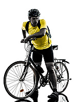 one  man exercising bicycle mountain bike tired breathless on white background