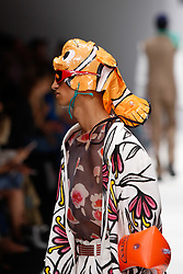 July 3, 2018 - Berlin, Germany - A model presents a collection of Botter during the first day of MBFW Berlin Fashion Weak in the ewerk showspace in Berlin, Germany on July 3, 2018. (Credit Image: © Dominika Zarzycka/NurPhoto via ZUMA Press)