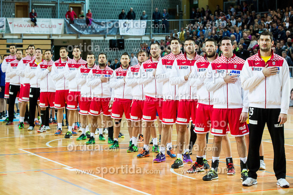 Players of Croatia during friendly handball match between National teams of Slovenia and Croatia as preparation game for European Championship in Poland, on January 9, 2016 in Arena Bonifika, Koper, Slovenia. Photo by Vid Ponikvar / Sportida