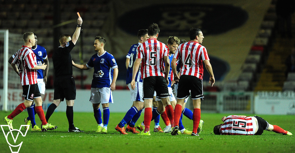 Barrow&rsquo;s Nick Wilmer Anderton is shown a red card by Referee Alan Young<br /> <br /> Photographer Chris Vaughan/Chris Vaughan Photography<br /> <br /> Football - Vanarama National League - Lincoln City v Barrow - Saturday 19th December 2015 - Sincil Bank - Lincoln<br /> <br /> &copy; Chris Vaughan Photography - Telephone 07764 170783 - info@chrisvaughanphotography.co.uk - www.chrisvaughanphotography.co.uk