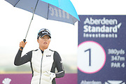 Jin Young Ko on the 1st tee for the final round of the Aberdeen Standard Investment Ladies Scottish Open 2018 at Gullane Golf Club, Gullane, Scotland on 29 July 2018. Picture by Kevin Murray.
