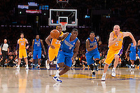 30 October 2012: Guard (4) Darren Collison of the Dallas Mavericks dribbles down the court during a fast break against the Los Angeles Lakers during the first half of the Mavericks 99-91 victory over the Lakers at the STAPLES Center in Los Angeles, CA.
