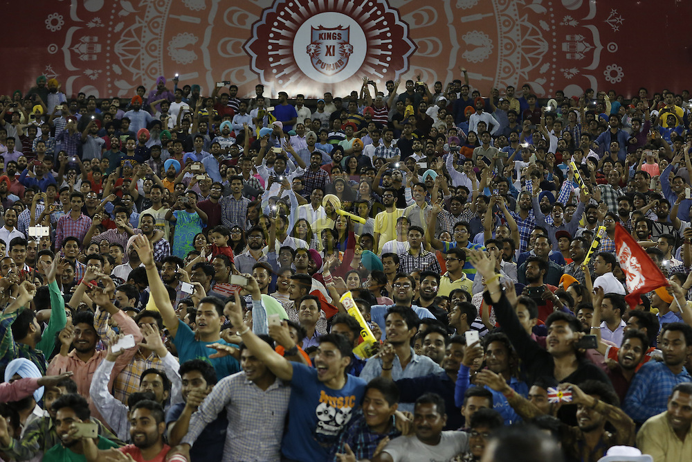 Fans during match 21 of the Vivo Indian Premier League ( IPL ) 2016 between the Kings XI Punjab and the Mumbai Indians held at the IS Bindra Stadium, Mohali, India on the 25th April 2016<br /> <br /> Photo by Arjun Singh / IPL/ SPORTZPICS
