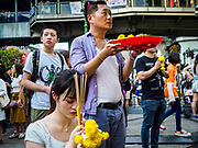 31 DECEMBER 2018 - BANGKOK, THAILAND: People pray at the Erawan Shrine in Bangkok. The shrine was packed with tourists and Thais praying and making merit on New Year's Eve. Many Thais go to temples to meditate and pray on New Year's Eve.   PHOTO BY JACK KURTZ