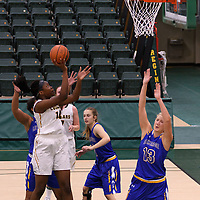 2nd year post Angela Bongomin (14) of the Regina Cougars in action during the Women's Basketball Preseason game on October 14 at Centre for Kinesiology, Health and Sport. Credit: Arthur Ward/Arthur Images