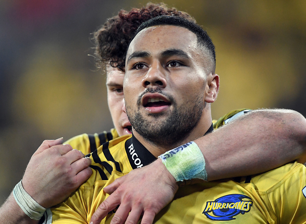 Hurricanes Ngani Laumape after scoring against the Chiefs in the Super Rugby match at Westpac Stadium, Napier, New Zealand, Friday, April 13, 2018. Credit:SNPA / Ross Setford
