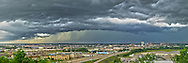 A rain squall approaches Peoria, Illinois. The heavy rain was close, but it never actually fell where I was shooting from. The top of a bluff in East Peoria provided a perfect view to the west of this storm.<br />