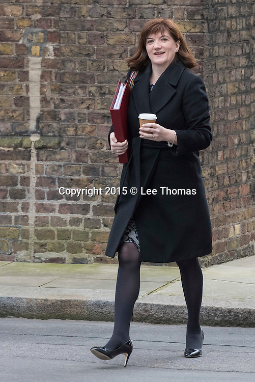 Downing Street, London, UK. 24th March, 2015. Government ministers attend the weekly Cabinet Meeting at Downing Street. Pictured: Nicky Morgan // Lee Thomas, Flat 47a Park East Building, Bow Quarter, London, E3 2UT. Tel. 07784142973. Email: leepthomas@gmail.com. www.leept.co.uk