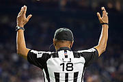 HOUSTON, TX - AUGUST 29:  Line Judge Byron Boston signals a touchdown during a game between the Los Angeles Rams and the Houston Texans during week four of the preseason at NRG Stadium on August 29, 2019 in Houston, Texas. The Rams defeated the Texans 22-10.   (Photo by Wesley Hitt/Getty Images) *** Local Caption *** Byron Boston