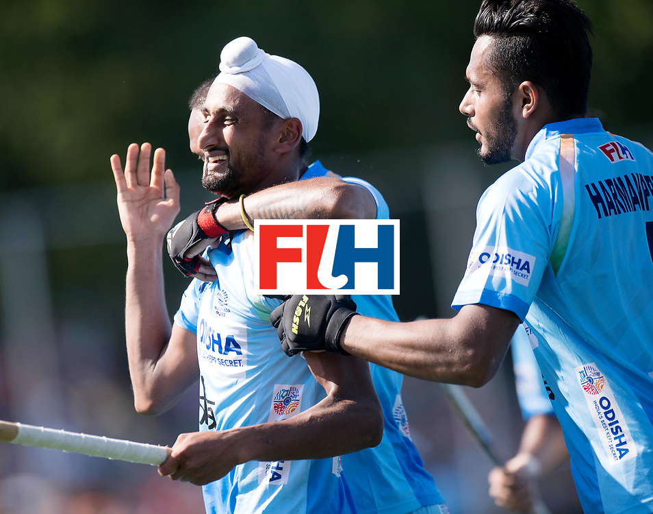 BREDA - Rabobank Hockey Champions Trophy<br /> The Netherlands - India<br /> Photo: Mandeep Singh celebrates his goal.<br /> COPYRIGHT WORLDSPORTPICS FRANK UIJLENBROEK