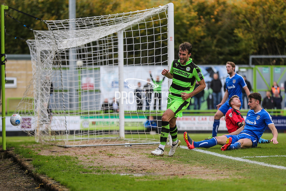 Guiseley's Jake Lawlor(6) scores an own goal, 3-0 during the Vanarama National League match between Forest Green Rovers and Guiseley  at the New Lawn, Forest Green, United Kingdom on 22 October 2016. Photo by Shane Healey.