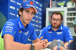 August 9, 2018 - Spielberg, Austria - 42 Spanish driver Alex Rins of Team Suzuki ECSTAR speak with press on Suzuki ECSTAR Ospitality before Austrian GP weekend in Spielberg, Austria, on August 9, 2018. (Credit Image: © Andrea Diodato/NurPhoto via ZUMA Press)