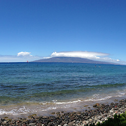 Maui Channel from Puamana (Panorama(, Lahaina, Maui, Hawaii, US