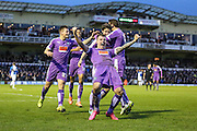 Plymouth players celebrate Plymouth Argyle's Josh Simpson's equaliser during the Sky Bet League 2 match between Bristol Rovers and Plymouth Argyle at the Memorial Stadium, Bristol, England on 23 January 2016. Photo by Shane Healey.
