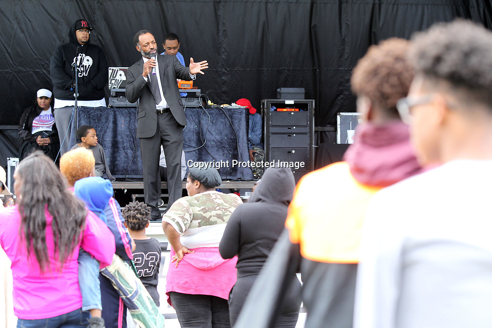 "Jack Shelton, the Pastor at New Bethel Missionary Baptist Church in Plantersville, speaks out against gun violence at the ""Put the guns down"" gun violence awareness block party that was put on by the rap group Rae Sremmurd at Gumtree Park in Tupelo on Sunday afternoon."
