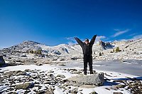 A happy owman in the upper Enchantments, Enchantment Lakes Wilderness Area, Washington Cascades, USA.
