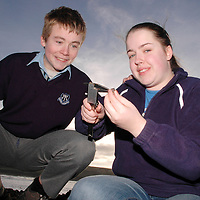 20/12/2005<br />Lisdoonvarna Community School students Darren O'Gorman and Laura Sims, working on their Young Scientist of The Year Project, 'Whelks' at Doolin.<br />Picture. Cathal Noonan/Press22.