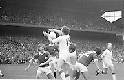 Cork wins possession of the ball in front of the Galway goalmouth during the All Ireland Senior Gaelic Football Championship Final Cork v Galway in Croke Park on the 23rd September 1973. Cork 3-17 Galway 2-13.