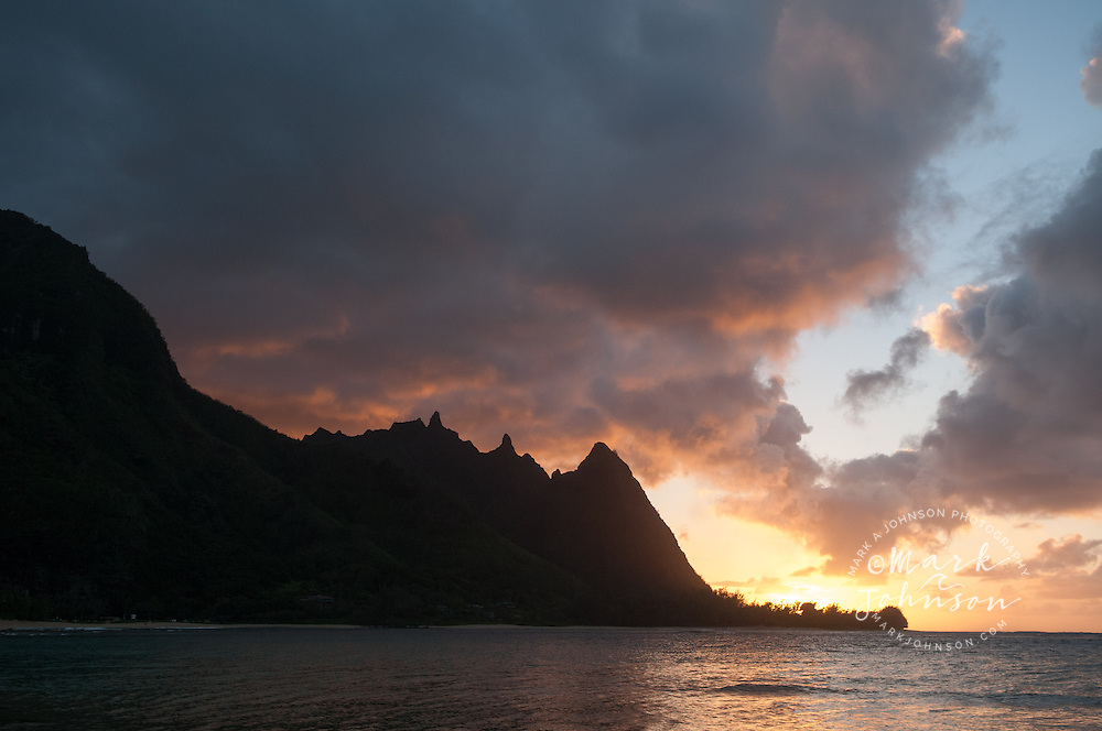 """Bali Hai"" mountain ridge seen from Haena Beach, aka ""Tunnels Beach"", Kauai, Hawaii"