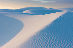 Sunrise on sand dunes at White Sands National Monument, New Mexico, USA.