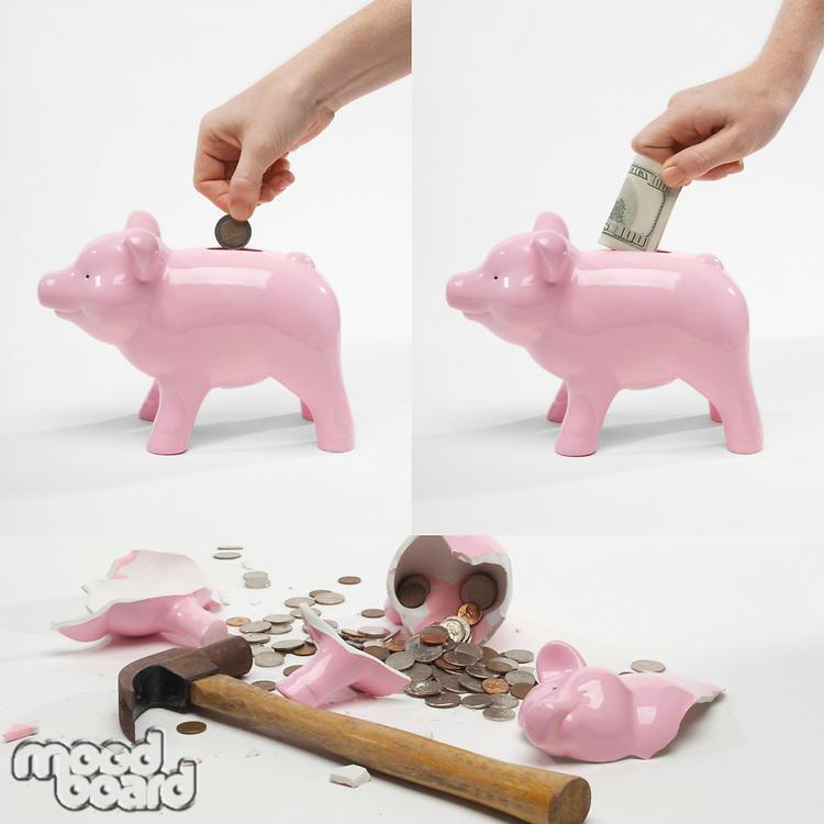 Collage of man saving money into piggybank for retirement