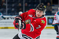 KELOWNA, BC - MARCH 02:  Michal Kvasnica #7 of the Portland Winterhawks warms up against the Kelowna Rockets at Prospera Place on March 2, 2019 in Kelowna, Canada. (Photo by Marissa Baecker/Getty Images)