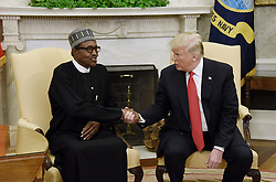 United States President Donald Trump meets with President Muhammadu Buhari of Nigeria in the Oval Office of the White House on April 30, 2018 in Washington, DC. 30 Apr 2018 Pictured: United States President Donald Trump shakes hands with President Muhammadu Buhari of Nigeria in the Oval Office of the White House on April 30, 2018 in Washington, DC. Credit: Olivier Douliery / Pool via CNP. Photo credit: Olivier Douliery - Pool via CNP / MEGA TheMegaAgency.com +1 888 505 6342