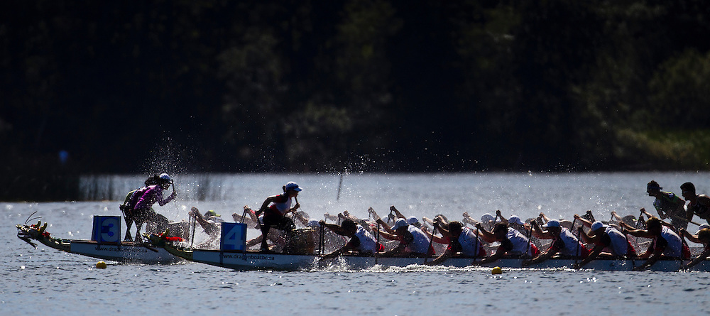 Crews compete at the 2013 Canadian National Dragon Boat Championships held on Elk Lake in Victoria, British Columbia Canada.