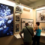 An exhibit showcasing the work of international war photographers during the Vietnam War at the War Remnants Museum in Ho Chi Minh City (Saigon), Vietnam.