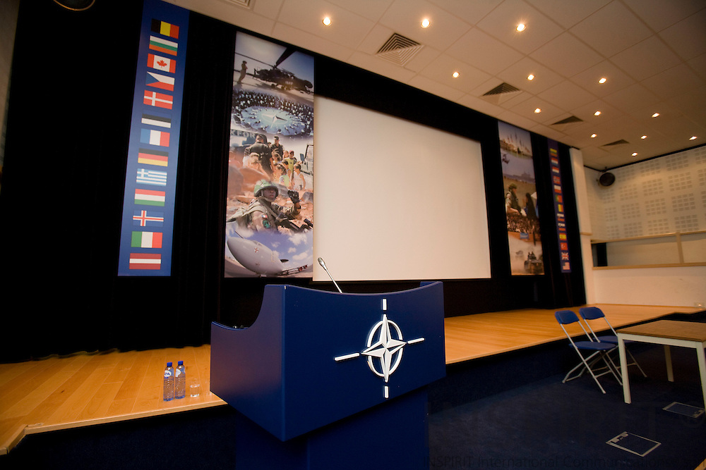 BRUSSELS - BELGIUM - 06 MARCH 2009 --  The NATO Headquarters. Here the briefing room for press conferences. Photo: Erik Luntang