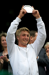 LONDON, ENGLAND - Saturday, July 2, 2011: Liam Broady (GBR) with the runners-up trophy after losing the Boys' Singles Final on day twelve of the Wimbledon Lawn Tennis Championships at the All England Lawn Tennis and Croquet Club. (Pic by David Rawcliffe/Propaganda)