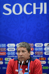 June 17, 2018 - Sochi, Russie - SOCHI, RUSSIA - JUNE 17 : Hernan Dario Gomez head coach of Panama talking to the press during a press conference prior to the FIFA 2018 World Cup Russia group G phase match between Belgium and Panama at the Fisht Stadium on June 17, 2018 in Sochi, Russia, 17/06/2018 (Credit Image: © Panoramic via ZUMA Press)