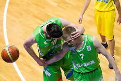 Alen Omic of Slovenia and Klemen Prepelic of Slovenia during basketball match between National teams of Sweden and Slovenia in First Round of U20 Men European Championship Slovenia 2012, on July 13, 2012 in Domzale, Slovenia. (Photo by Vid Ponikvar / Sportida.com)