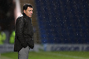 Chesterfield FC manager Dean Saunders doesn't look happy during the Sky Bet League 1 match between Chesterfield and Swindon Town at the Proact stadium, Chesterfield, England on 28 November 2015. Photo by Aaron Lupton.