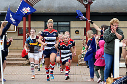 Amber Reed (c) of Bristol Ladies and mascot lead out the teams - Mandatory by-line: Robbie Stephenson/JMP - 18/09/2016 - RUGBY - Cleve RFC - Bristol, England - Bristol Ladies Rugby v Aylesford Bulls Ladies - RFU Women's Premiership