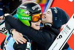 Ursa Bogataj and Nika Kriznar of Slovenia celebrate during 2nd Round at Day 1 of World Cup Ski Jumping Ladies Ljubno 2019, on February 8, 2019 in Ljubno ob Savinji, Slovenia. Photo by Matic Ritonja / Sportida