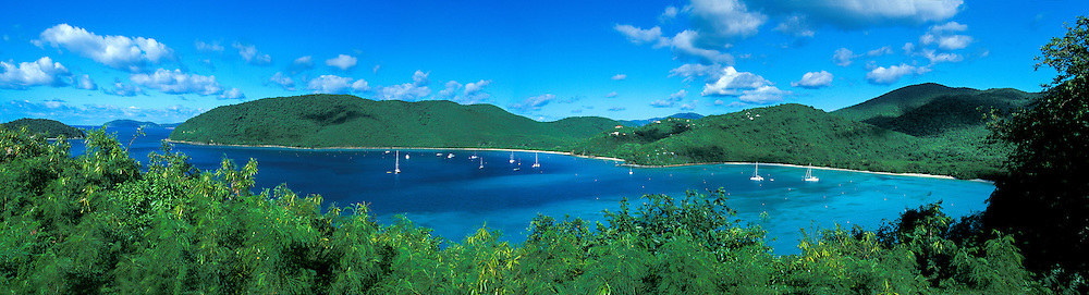 St John US virgin islands, Maho and Francis bays with moored sailboats