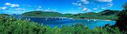 St John US virgin islands, Maho and Francis bays with moored sailboats